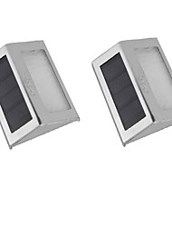 YouOKLight 2PCS 0.2W 2-LED  White/Warm White Light Control Solar Wall Lamp - Silver