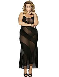 Women Diagonal Stripes Black Suspenders Perspective Gauze Dress Chemises  Gowns