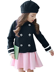 Toddler Girls Spring/Fall England Style Student Clothing Set Navy Top+Pink Skirt Two Piece Suit for 2~7 Years Kids Girls
