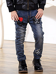 Boy's Cotton Spring/Autumn Fashion Loving Heart Pattern Letter Print Jeans Elasticity Denim Pants