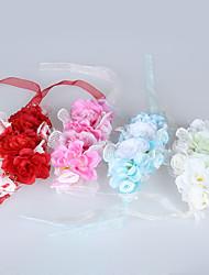 """Hochzeitsblumen Mit Hand gebunden Rosen Armbandblume Hochzeit Weiß Tüll / Spitzen / Perlen 2.76""""(ca.7cm)"""