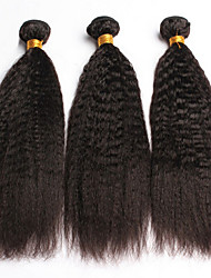 6A Indian Kinky Straight Coarse Yaki Virgin Hair Weave 3Pcs/Lot Indian Straight Hair Natural Black