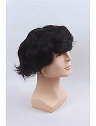 """""""X10"""" base mono 100% cabelo humano dos homens peruca 8 com 1 """"pu todo cor preta perucas naturais dos homens de cabelo peruca"""