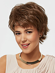 Brown Color Short Curly Wigs Capless Synthetic Wigs For Women