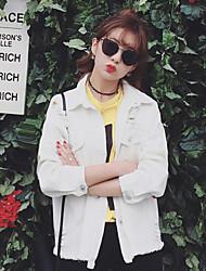 Women's Casual/Daily Simple Fall Denim Jackets,Solid Shirt Collar Long Sleeve White / Black Cotton Medium
