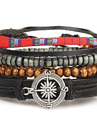 4pcs/set Punk Men's Bracelet PU Leather Bracelet Compass Adjustable Beads Multilayer for Men Fashion Jewelry
