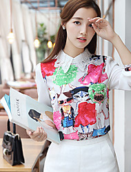 Simple Spring Blouse,Animal Print Shirt Collar Long Sleeve White Polyester Medium