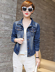 Women's Casual/Daily Simple Spring / Fall Denim Jackets,Solid Shirt Collar Long Sleeve Blue Rayon Medium
