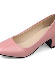 Damen-High Heels-Büro Kleid Lässig-Lackleder-Blockabsatz Block Ferse-Komfort Pumps-Schwarz Beige Grau Rot Rosa
