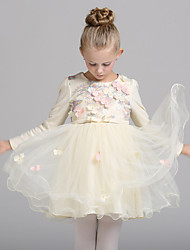 A-line Knee-length Flower Girl Dress - Cotton / Tulle Long Sleeve Jewel with Appliques / Flower(s)