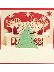 Paper Craft 3D Pop-up Greeting Card For Christmas Random Color