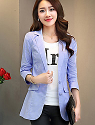 Women's Going out / Casual/Daily / Work Cute Spring / Fall Blazer,Solid Peaked Lapel ¾ Sleeve