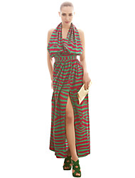JOANNE KITTEN Women's Beach Dress Midi Sleeveless Multi-color Polyester All Seasons