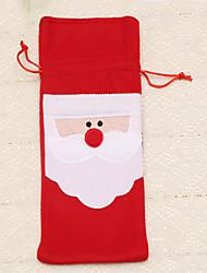 1pc rouges couverture sacs de bouteilles de vin repas de Noël décoration de table maison partie fournit le père noël