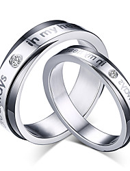 2016 Fashioin Noble Titanium Steel CZ Stone Wedding Couples Ring  For Women&Man