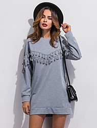 Women's Casual/Daily Simple / Street chic Tassel Loose Long Hoodies,Patchwork Gray Round Neck Long Sleeve