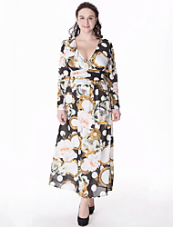 Women's Plus Size Boho Swing Dress,Print V Neck Maxi Long Sleeve Black / Purple Cotton / Polyester Summer