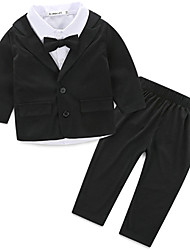 Boy's Formal Solid Clothing Set,Rayon All Seasons Black