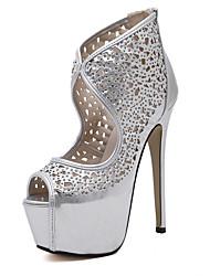 Women's Sandals Spring / Summer / Fall Gladiator Glitter Party & Evening / Dress / Casual Stiletto Heel Sparkling Glitter Black / Silver
