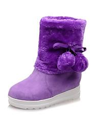 Women's Boots Winter Fashion Boots Fur Dress / Casual Flat Heel Others Yellow / Purple / Red / Beige Walking