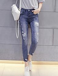 Femme Jeans Pantalon,simple Décontracté / Quotidien Imprimé Taille Haute Polyester Micro-élastique All Seasons