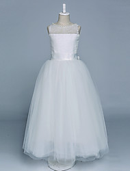 Ball Gown Floor-length Flower Girl Dress - Satin / Tulle Sleeveless Jewel with Bow(s) / Buttons / Lace / Pearl Detailing