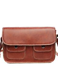 Women PU Casual  Outdoor Double Pocket Phone Wallet Vintage Shopping Clasp Lock Shoulder Bag