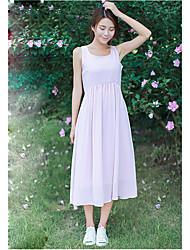 Mulheres Swing Vestido,Happy-Hour Simples Sólido Decote U Médio Sem Manga Azul / Branco / Roxo Poliéster Verão