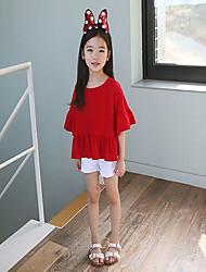 Tee-shirts Fille de Couleur Pleine Décontracté / Quotidien Coton Eté Rouge