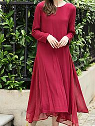 Женский На каждый день Простое Оболочка Платье Однотонный,Круглый вырез Средней длины Длинный рукав Красный Хлопок Осень С высокой талией