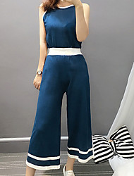 Women's Casual/Daily Simple Summer Set Pant,Color Block Strap Sleeveless Blue / Black Rayon Medium