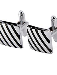 Cufflinks 1 pair,Striped Silver Fashionable Cufflink Men's Jewelry