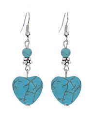 Plateado Turquesa Legierung Corazón Cosecha estilo de Bohemia Moda Forma de Corazón Azul Joyas Diario Casual 1 par