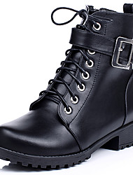 Women's Shoes Boots Spring/Fall/Winter Bootie/Combat Boots/Round Toe Casual Low Heel Lace-up Black/Brown