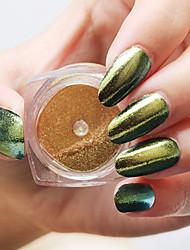 1pc nail art espelho mágico pó o laser o camaleão pó fino espelho o efeito clássico de 6 cores