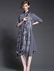 De las mujeres Corte Ancho Vestido Noche Sofisticado,Estampado Escote Chino Hasta la Rodilla 1/2 Manga Gris Seda / Poliéster Verano