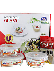 LOCK&LOCK 3/set Kitchen Kitchen Glass Lunch Box 175*130*64mm,140*140*67mm,75*155mm LLG428S911
