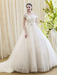 Ball Gown Wedding Dress Court Train Off-the-shoulder Lace / Satin / Tulle with Bow / Lace / Sequin