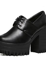Черный-Женский-На каждый день-Полиуретан-На толстом каблуке-На каблуках / С круглым носком-Обувь на каблуках
