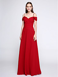 2017 Lanting Bride® Floor-length Chiffon Color Block Bridesmaid Dress - Spaghetti Straps with Beading
