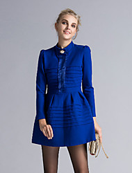DREAMY LAND  Women's Going out Vintage / Sheath Dress,Solid Stand Long Sleeve Blue / Red / Black Cotton / Polyester