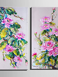 E-HOME® Stretched Canvas Art Pink Flowers Decoration Painting  Set Of 2