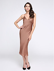 TS Couture® Cocktail Party Dress Sheath / Column Spaghetti Straps Tea-length Satin Chiffon with Buttons
