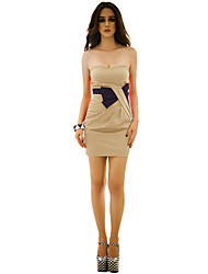 Women's Party/Cocktail Sexy / Cute Bodycon Dress,Color Block Strapless Above Knee Sleeveless Red / Gold / Silver Polyester / SpandexAll