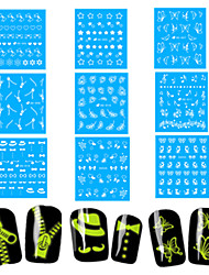 1Set Nail Art Water Transfer Noctilucent Sticker Beautiful Image Nail Beauty DG-003,005,007,009,010,011,019,038,042
