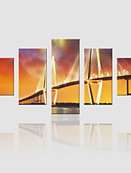 JAMMORY Canvas Set Landscape Modern,Five Panels Gallery Wrapped, Ready To Hang Vertical Print No Frame Bridge