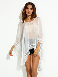 Women's Beach Sexy Summer Blouse,Solid Long Sleeve White Others Thin