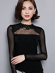 Women's Casual/Daily Sexy Fall / Winter Blouse,Patchwork Crew Neck Long Sleeve Black Cotton / Polyester Medium