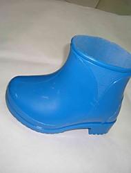 Unissex-Botas-Botas de Chuva-Salto Baixo-Azul-PVC-Ar-Livre