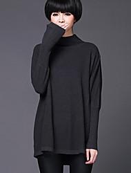 Damen Standard Pullover-Lässig/Alltäglich / Urlaub Einfach / Anspruchsvoll Solide / Hahnentrittmuster Rot / Beige / Schwarz / Grau Ständer